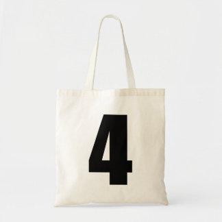 Número negro 4 en el tote del presupuesto bolsa tela barata