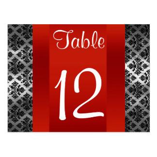Número negro cuadrado de la tabla del damasco 211 tarjetas postales