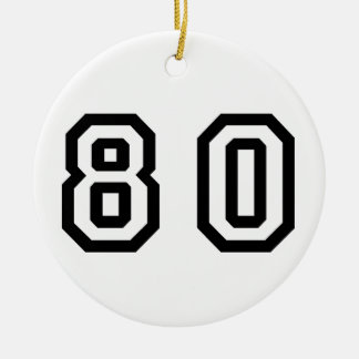 Número ochenta adorno navideño redondo de cerámica