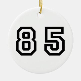Número ochenta y cinco adorno navideño redondo de cerámica