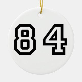 Número ochenta y cuatro adorno navideño redondo de cerámica