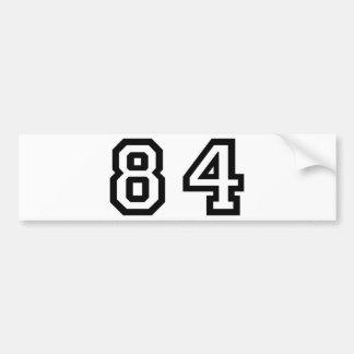 Número ochenta y cuatro pegatina para auto