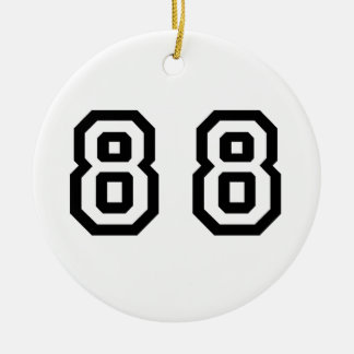 Número ochenta y ocho adorno navideño redondo de cerámica