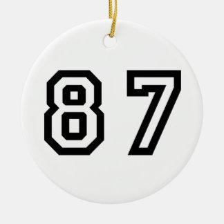 Número ochenta y siete adorno navideño redondo de cerámica