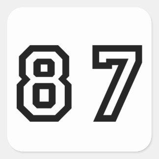 Número ochenta y siete pegatina cuadrada