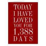 Número personalizado de días le he amado tarjeta