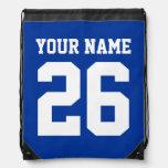 Número personalizado el   azul del jersey del bols mochilas