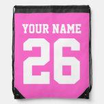 Número personalizado el   rosado del jersey del bo mochila