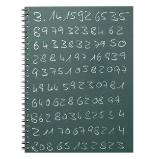 Número pi libros de apuntes con espiral