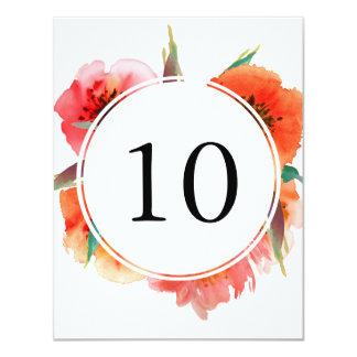 """Número pintado rojo de la tabla de la recepción de invitación 4.25"""" x 5.5"""""""