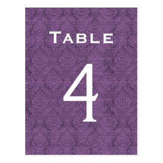 Número púrpura 4 C203 de la tabla del boda del Postal