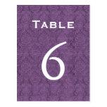 Número púrpura 6 C205 de la tabla del boda del dam Postales