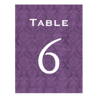 Número púrpura 6 C205 de la tabla del boda del dam Tarjeta Postal