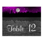 Número púrpura de la tabla de la luna de la postal