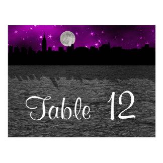 Número púrpura de la tabla de la luna de la postales