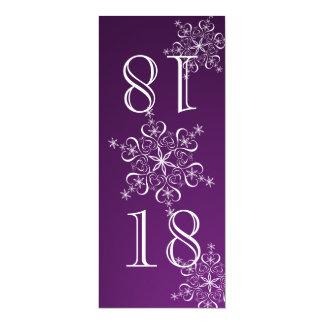 """Número púrpura de la tabla de los copos de nieve invitación 4"""" x 9.25"""""""