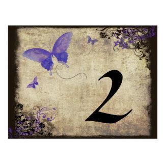 Número púrpura de la tabla del boda de la mariposa postal