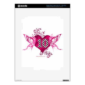 Número que compite con 10 con las mariposas iPad 3 pegatinas skins