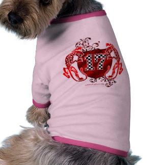 número que compite con 17 camiseta con mangas para perro