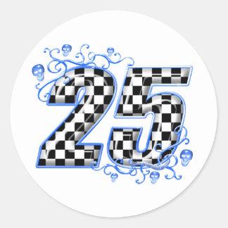 número que compite con azul 25 pegatina redonda