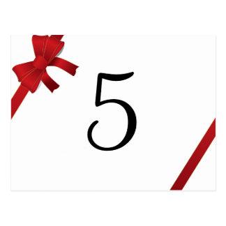 Número rojo de la tabla del boda del invierno del  tarjeta postal