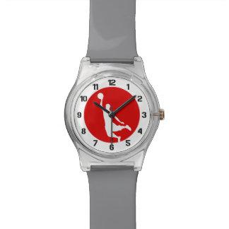 Número rojo del logotipo del círculo del relojes