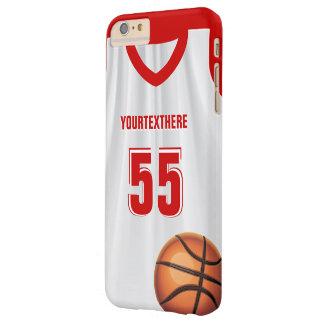 Número rojo del nombre del vestido del baloncesto funda para iPhone 6 plus barely there