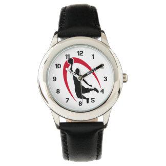 Número rojo negro del baloncesto relojes de mano