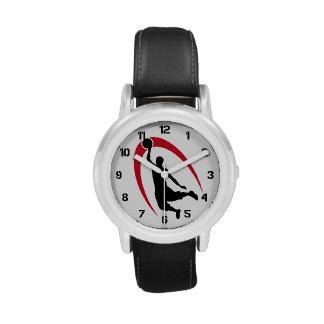Número rojo negro del logotipo del baloncesto relojes