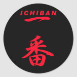 Número ROJO uno de ICHIBAN; negro Etiquetas Redondas