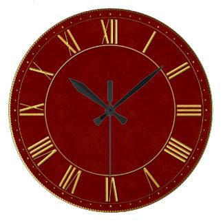 Número romano del vintage de Borgoña y del oro Reloj Redondo Grande