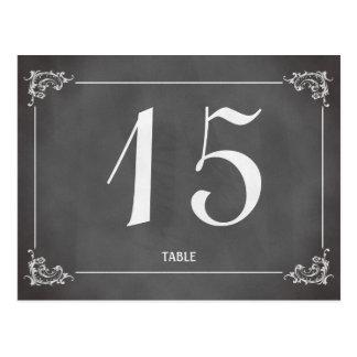 Número romántico de la tabla del boda de la pizarr postal