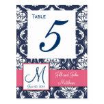 Número rosado de la tabla del boda del damasco de  tarjeta postal