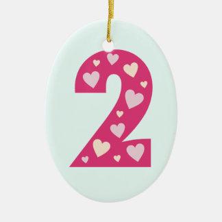 Número rosado feliz de los corazones ornamento de ornamentos de navidad