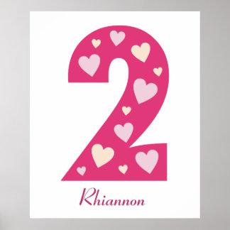 Número rosado feliz de los corazones poster de 2 c