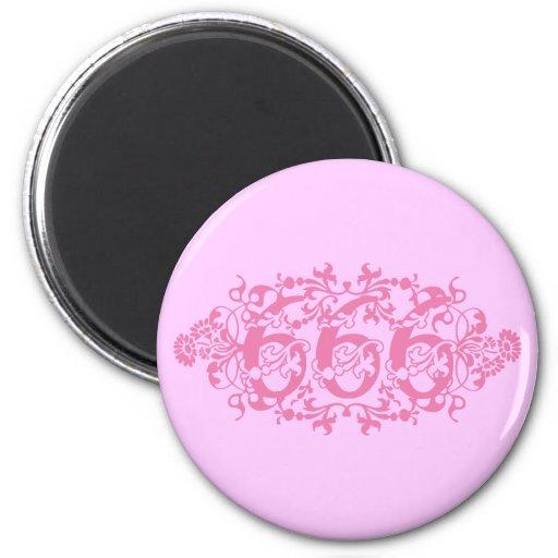 Número rosado florido 666 imán