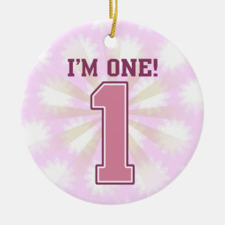 Número rosado grande uno, el primer cumpleaños del ornato