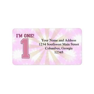 Número rosado grande uno, el primer cumpleaños del etiquetas de dirección