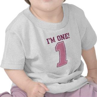 Número rosado grande uno el primer cumpleaños del camiseta