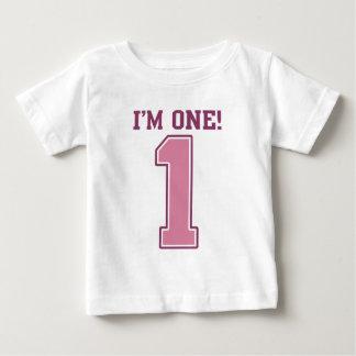 Número rosado grande uno, el primer cumpleaños del playera
