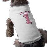 Número rosado grande uno, el primer cumpleaños del camiseta de perro