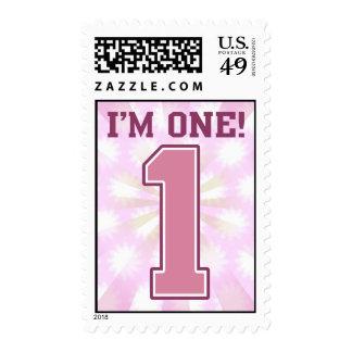 Número rosado grande uno, el primer cumpleaños del sello postal