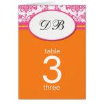Número rosado y anaranjado del damasco del boda de tarjetas