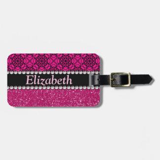 Número rosado y negro del brillo de los diamantes etiquetas para maletas