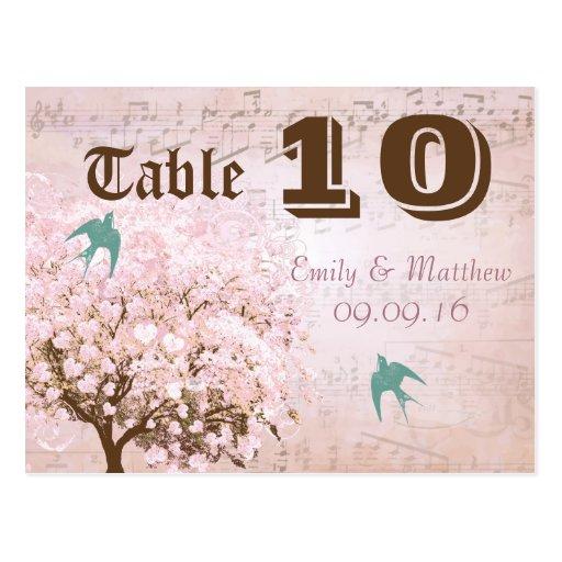 Número rosado y verde de la tabla del árbol de la  postal