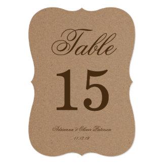 """Número rústico de la tabla del boda de papel de invitación 5"""" x 7"""""""