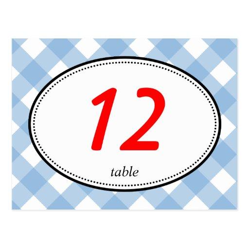 Número rústico de la tabla del boda del país azul  tarjetas postales