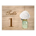 Número rústico de la tabla del tarro y del Hydrang