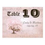 Número simplemente rosado de la tabla del árbol de tarjeta postal
