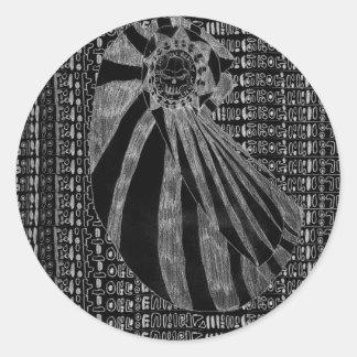 Número sin título uno - variante inversa pegatina redonda